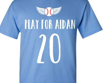 Play for Aidan Short Baseball T-Shirt In Memory Of