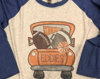 e778fb79 Edwardsburg Eddies High School Football Truck Raglan Shirt