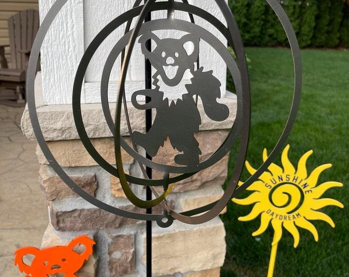 Dancing Bear Steel Wind Spinner Garden Decor Grateful Dead and Company Metal