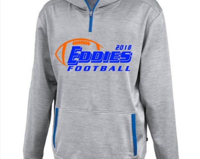 Edwardsburg Eddies High School Football Linear 1/4 Zip Hooded Sweatshirt Adult Unisex Sizing