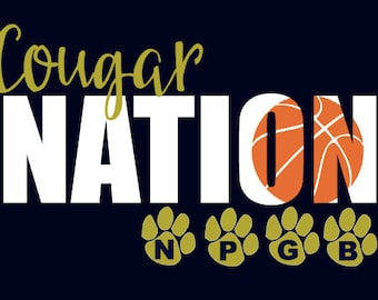 "New Prairie Cougars Girls Basketball ""Design D""  Spirit Wear T-Shirts and Sweatshirts"