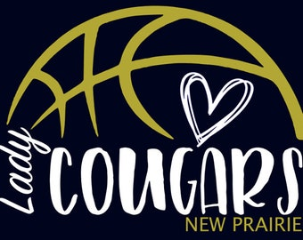 "New Prairie Cougars Girls Basketball ""Design E""  Spirit Wear T-Shirts and Sweatshirts"