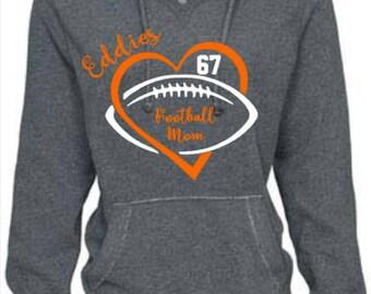 Edwardsburg Eddies High School Football Mom Ladies V-Notch Hooded Sweatshirt or team of your choice