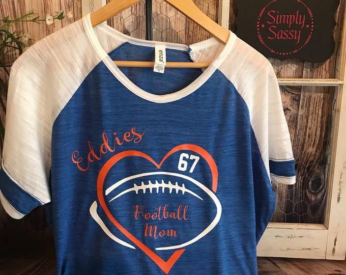 High School Football Mom T-Shirt Edwardsburg Eddies or team of your choice Vintage Triblend