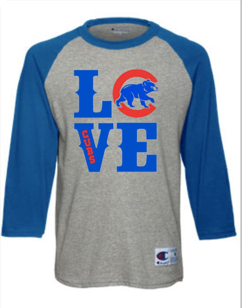 4e6432cf Love Chicago Cubs Champion Raglan Shirt | Etsy