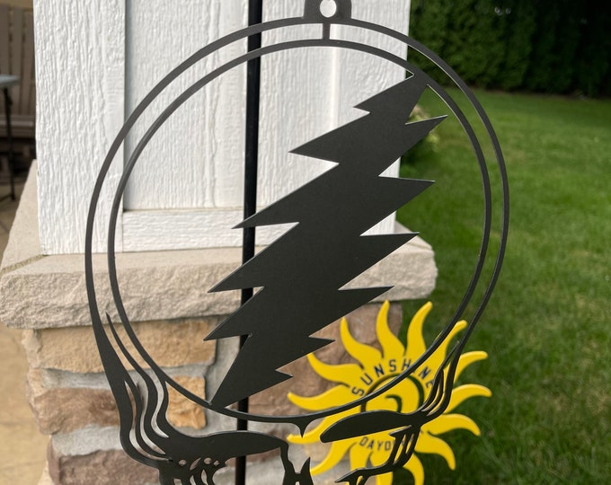 "Wind Spinner Steel Steal Your Face ""Stealie"" Decor Grateful Dead Metal Decor Garden Art"