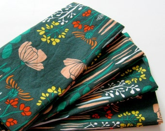 Cloth Napkins - Set of 4 - Green, Red, Yellow, Pink Flowers - Large Dinner Napkins, Table Napkins, Everyday Napkins
