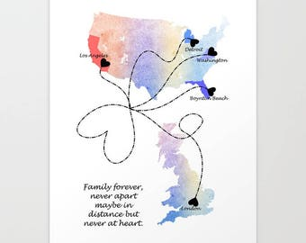 Gift For Family Family Quote Long Distance Family Map Gift Etsy