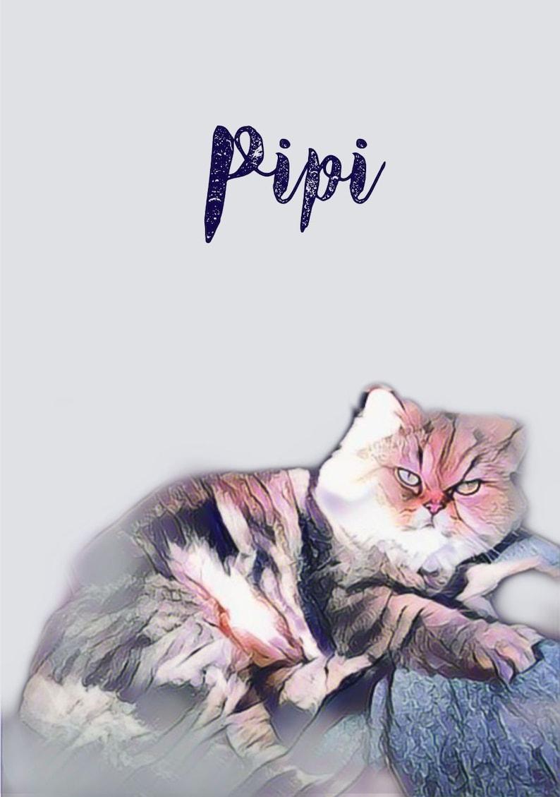 Printable Wall Art Gift For Animal Lovers Pet Illustration Custom Print Gift Printable Cat Portrait Personalized Pet Portrait Print