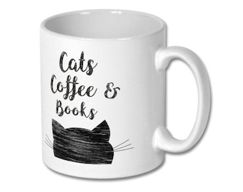 Book Lovers Mug, Mug cat, Book Mug, Book Lover Mug, Writer Gift, Coffee mug, Book Art Mug, Cats Coffee Books, Book coffee, Lovers cat gift