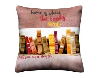 Book lovers pillow, Pillow cover, book pillow, book lover, writer gift, couch pillow, book art, art book, Home is where the books are