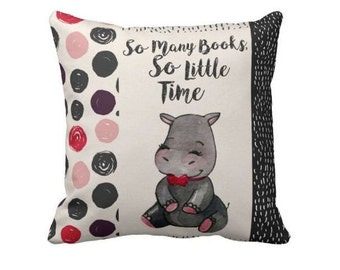 Book Lovers Pillow, Pillow Cover, Book Pillow, Book Lover, Writer Gift, Couch Pillow, Book Art, Art Book, So many books, Hippo Pillow