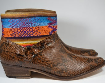 254cac1e175 LEATHER ETHNIC BOOTS, Size 41, Brown snake Boots, Ethnic Boots, Spanish  Boots