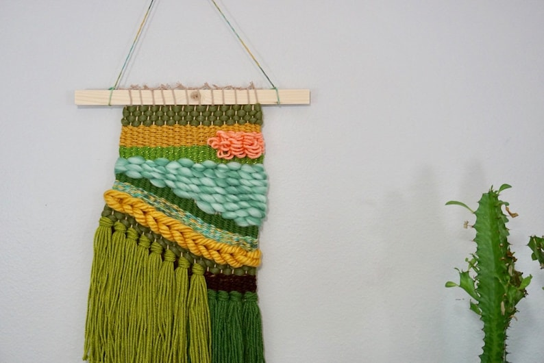 Woven wall hanging tapestry weaving -
