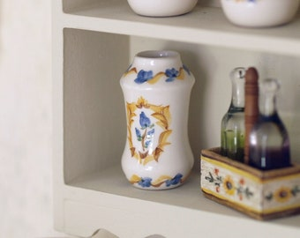 """Medicinal ceramic blue """"albarelo""""  Hand painted medicinal ceramic canister. scale 1:12. Making handmade and painted by hand."""