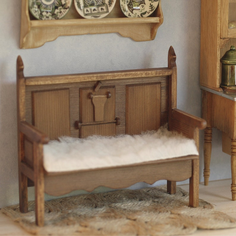 Rustic kitchen bench miniature for dollhouses scale 1:12. image 0