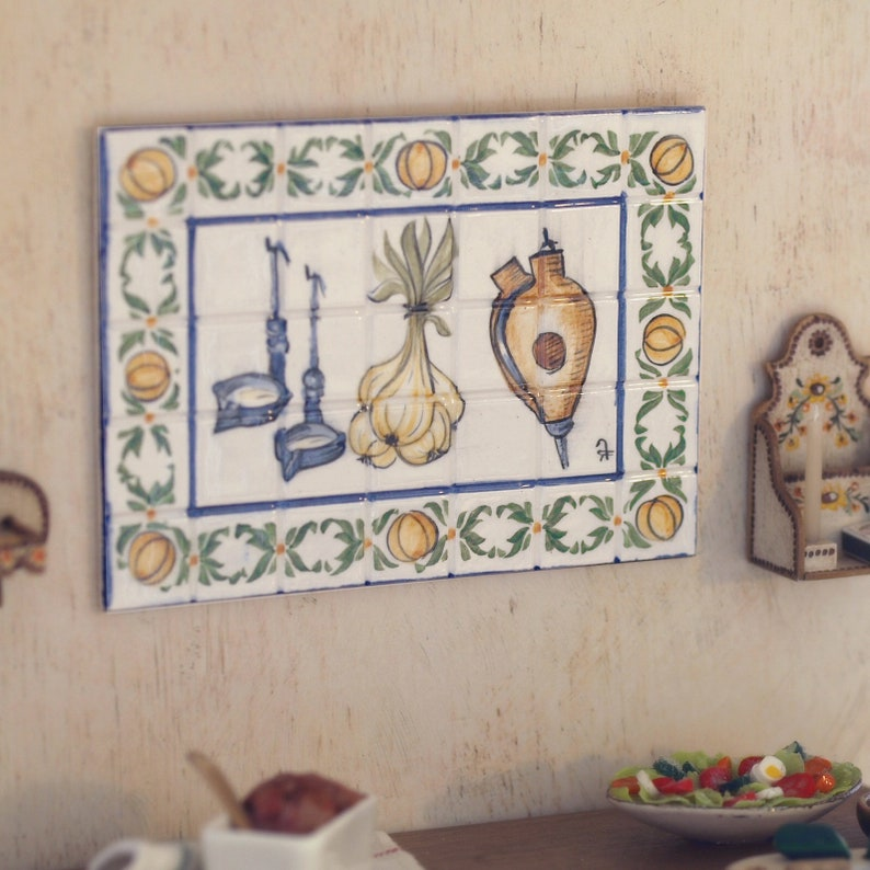 Miniature ceramic wall tiles scale 1:12. Making handmade and image 0