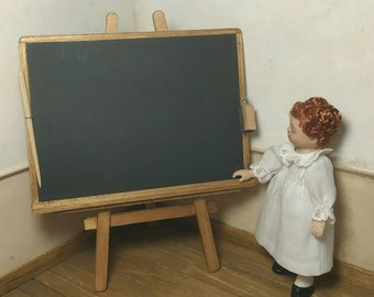 Blackboard with trestle. Includes chalk, eraser and pointer. Handmade. scale 1:12. Making handmade.