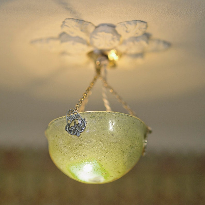 Lilly dollhouse celling lamp blowed glass hand painted whith image 0