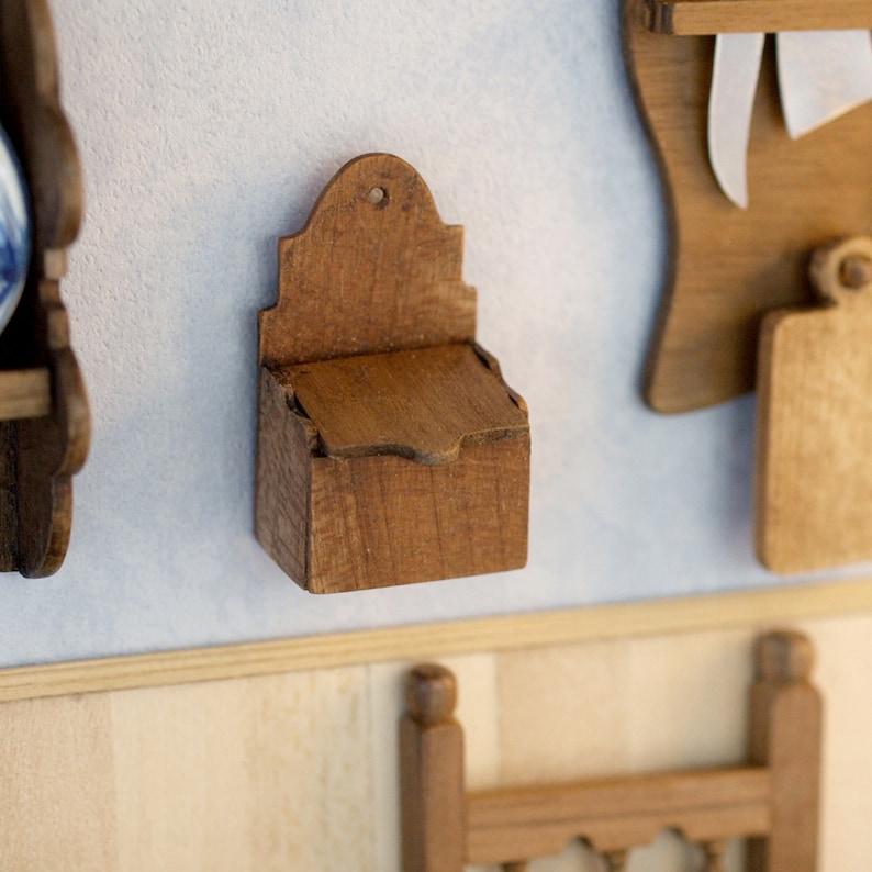 Salt cellar in polished wood fosr dollhouses scale 1:12. image 0