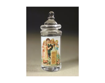 Blowed glass cady canister, dollhouse miniature 1:12 scale. Artisan.