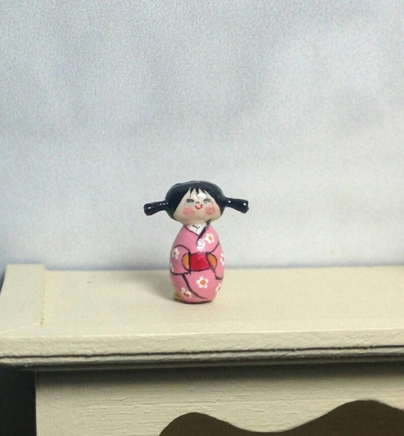 Mini Doll Kokeshi 1:12 scale. 15 mm high image 0