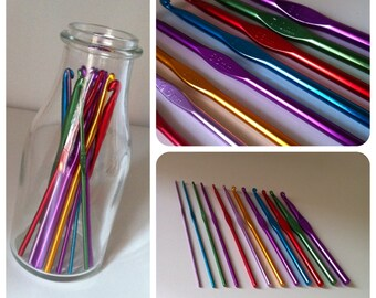 12pcs Mixed Color Aluminum Crochet Hooks Knitting Needles Yarn Kit Set Case Size 2 mm to 8 mm