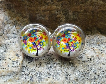 Colorful Tree Studs
