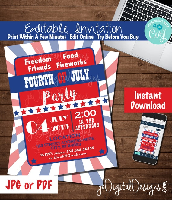 4th Of July Invitation Editable 4th Of July Invitation Template