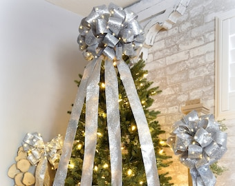 set of 3 led lighted christmas bows silver glitter w lights includes 16 tree topper 12 wreath and 12 garland bow