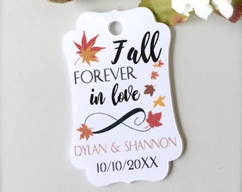 Wedding favor tags, fall wedding tags, personalized tags, thank you tags, fall in love, bridal shower favor tags, gift tags - 30 count(tg28)