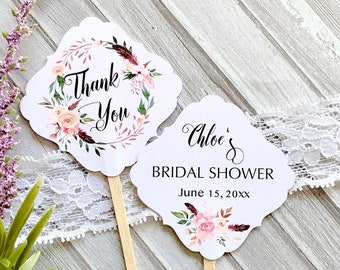 Bridal shower cupcake toppers, double sided cupcake picks, tags on sticks, tags for plants, bridal shower decor, cupcake decor  -set of 10