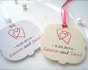 Personalized wedding favor tags, custom gift tags, party favor tags, thank you tags, wedding shower favor tags - 30 count