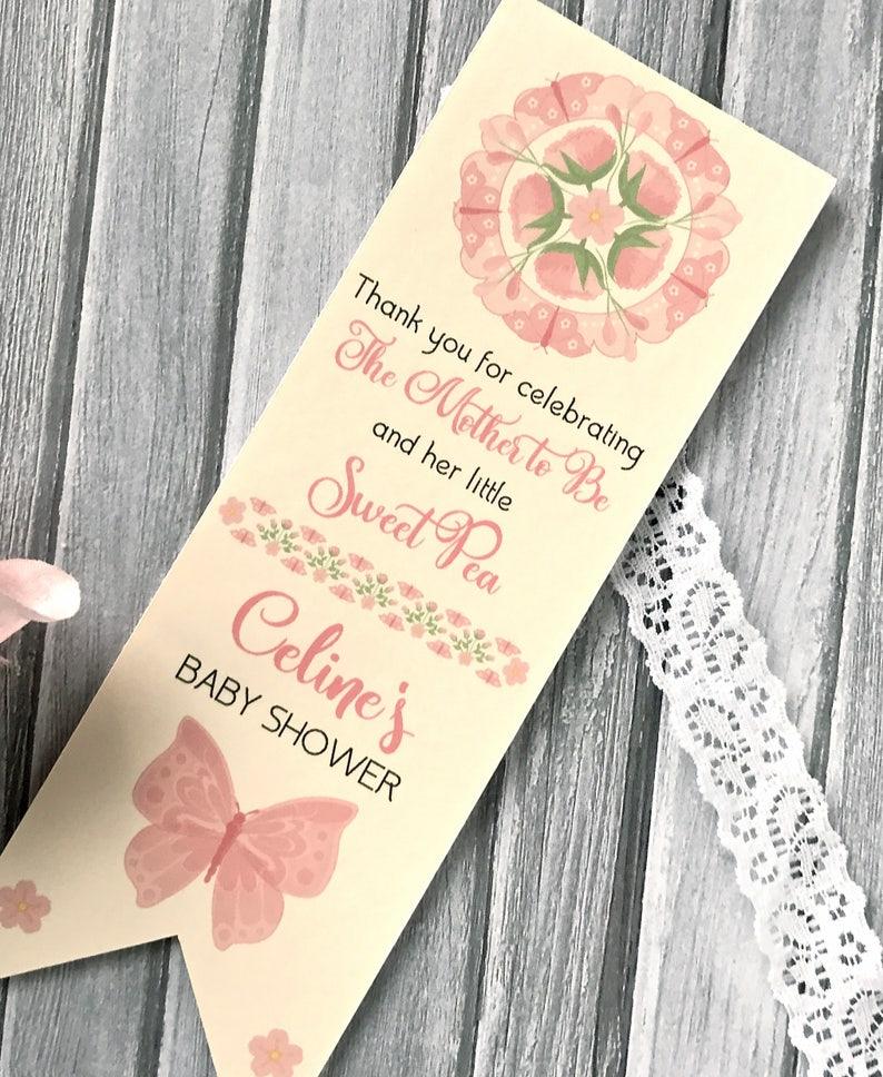 personalized bookmark set of 12 flower book mark girl baby shower Baby shower bookmark favors baby shower favor custom favors