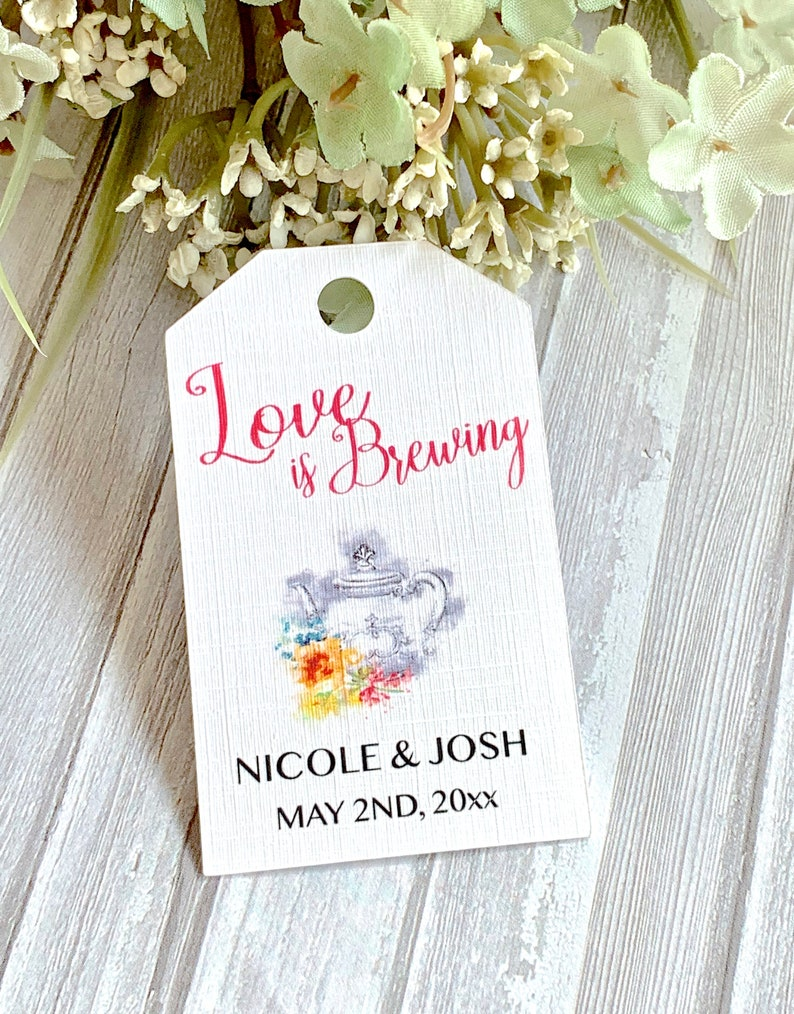 0a6b350cdec8 Love is Brewing wedding favor tags tea bags labels bridal