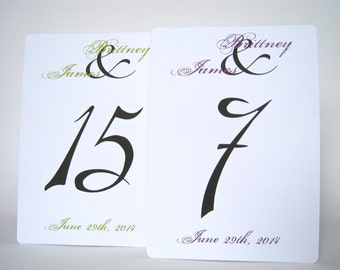 Wedding table numbers, wedding table sign, table number cards, wedding table decor, 5x7 table numbers, wedding reception decor, table number
