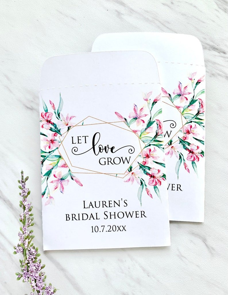 personalized envelopes for seeds let love grow 12 packets Floral seed packets