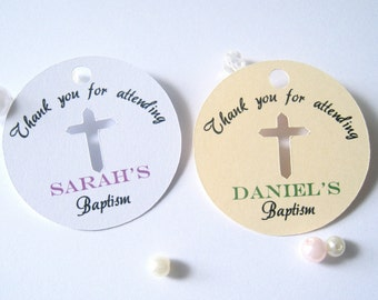 Baptism favor tags, christening favor tags, religious favor tags, cross favor tags, thank you tags, baptism favors- 30 tags(rt1)