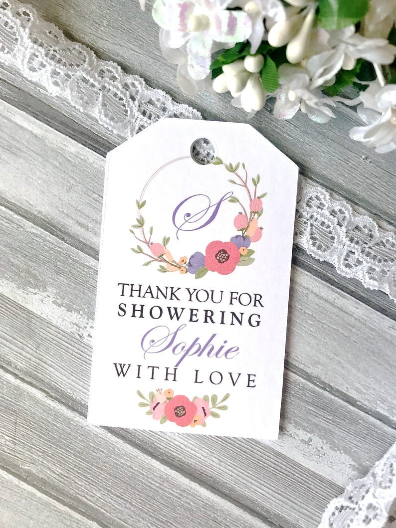 a4398b084829f4 Personalized bridal shower tags baby shower tags bath salts