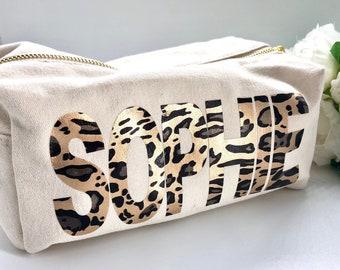 a6b450e41127 Personalised Leopard Print Makeup Bag