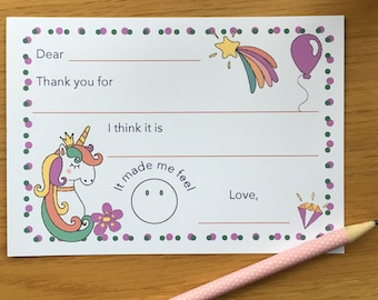 Unicorn Thank You Notes, Easy Thank You Cards, Kids Thank You Cards, Note Cards, Unicorn Notes, Thankyou Cards, Thanks