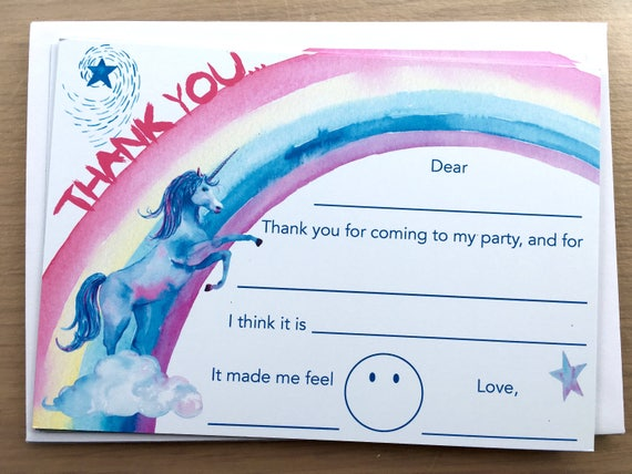 unicorn kid s thank you notes easy thank you cards kids