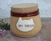 Cat Treat Jar handmade cat food canister lidded jar for pet treats cat treats kittens container pottery pet dish cat dish gift for cat lover