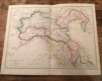 1858 Colored Italy Map Engraving from Long's Classical Atlas