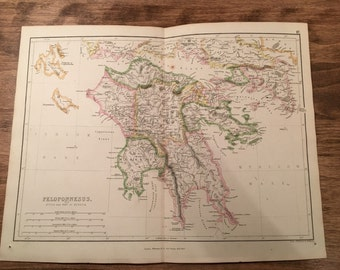 1858 Colored Peloponnesus Map Engraving from Long's Classical Atlas