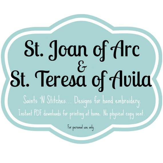 St Joan Of Arc St Teresa Of Avila Pdf Instant Download Etsy