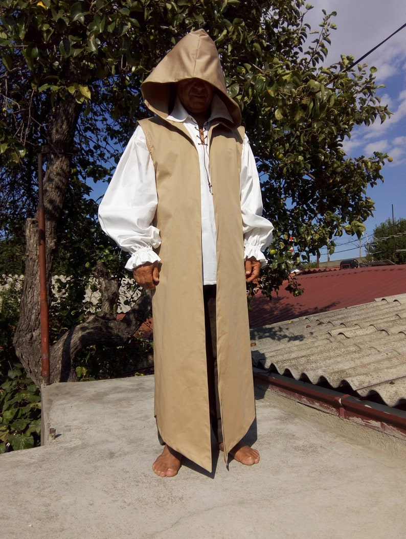 Surcoat Men Medieval Cloak Cosplay Kaftan LARP Hooded Cape Festival Clothing Burning Man Vest