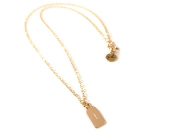 Engraved Morse Code Initial Mini Tag Necklace (14K Gold Filled) - Engraved Initial Tag, Morse Code Necklace, Letter Necklace, Gold Initial