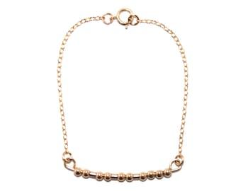 FAITH // Morse Code Beaded Chain Bracelet (14K Gold Filled) - Faith Morse Code Bracelet, Faith Bracelet, Faith Beaded Bracelet