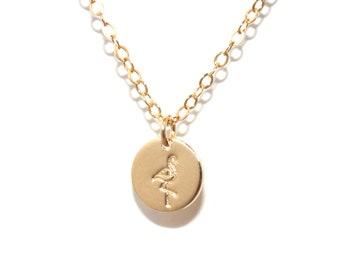 Flamingo Disc Necklace (14K Gold Filled) - Flamingo Necklace, Hand Stamped Flamingo Necklace, Flamingo Charm Necklace
